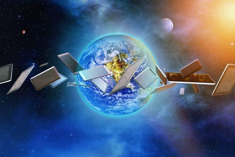 Internetanschluss, Kommunikation, moderne Geräte Galaktisches BAC stockfotografie