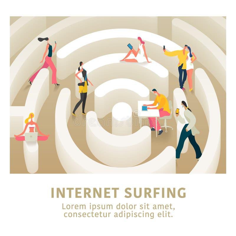 Internetanschluss und flache Illustration des modernen Leutevektorkonzeptes, Fahne lizenzfreie abbildung
