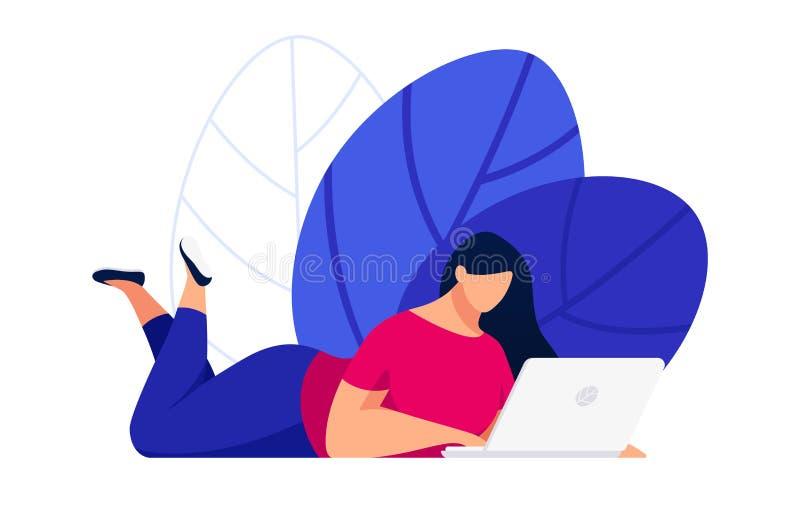 Internetanvändare i en plan stil stock illustrationer