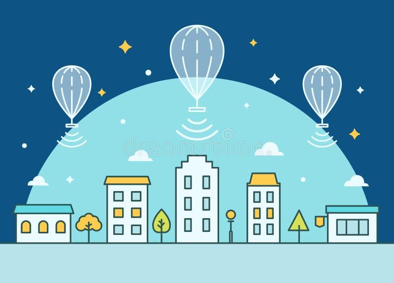 Internetballonger som svävar ovanför staden Ge internetåtkomstillustrationen stock illustrationer