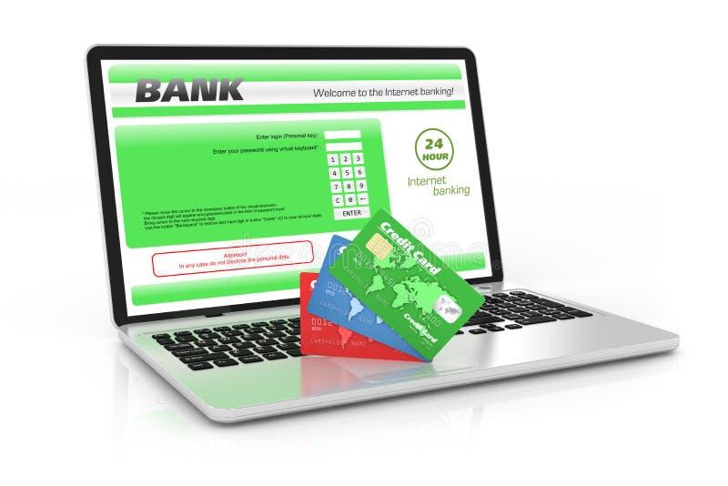Internetbankrörelseservice. Bärbar dator och kreditkortar royaltyfri illustrationer