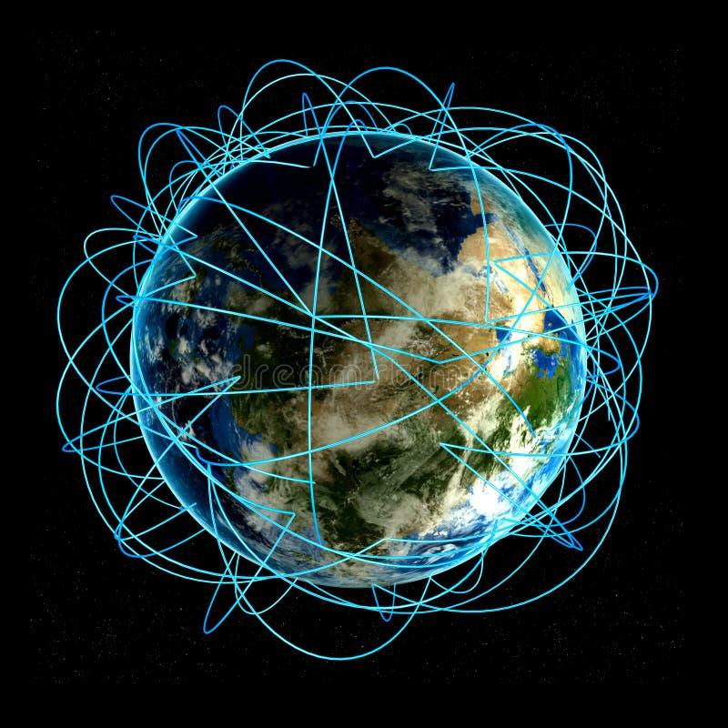 Internetbegrepp av den globala affären och viktiga flygruttar som baseras på verkliga data vektor illustrationer
