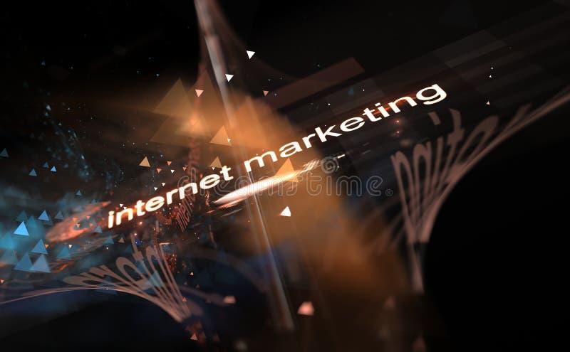 Internetbegrepp - marknadsföring, digitalt bild av färgrika ljus- och abstrakt begreppformer vektor illustrationer