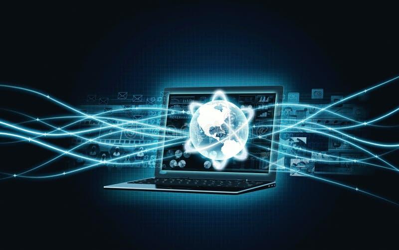 Internetbredbandbärbar dator fotografering för bildbyråer