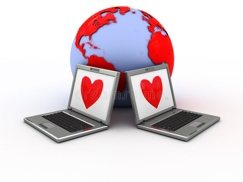 internetförälskelse royaltyfri illustrationer