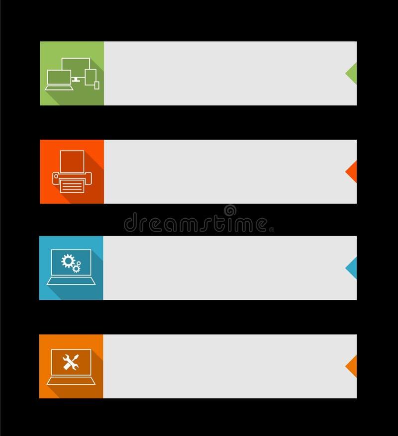 Internetknappar med datortema royaltyfri illustrationer