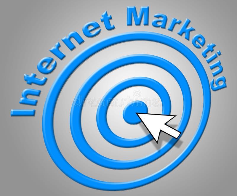 Internetmarknadsföringen visar world wide web och advertizing stock illustrationer