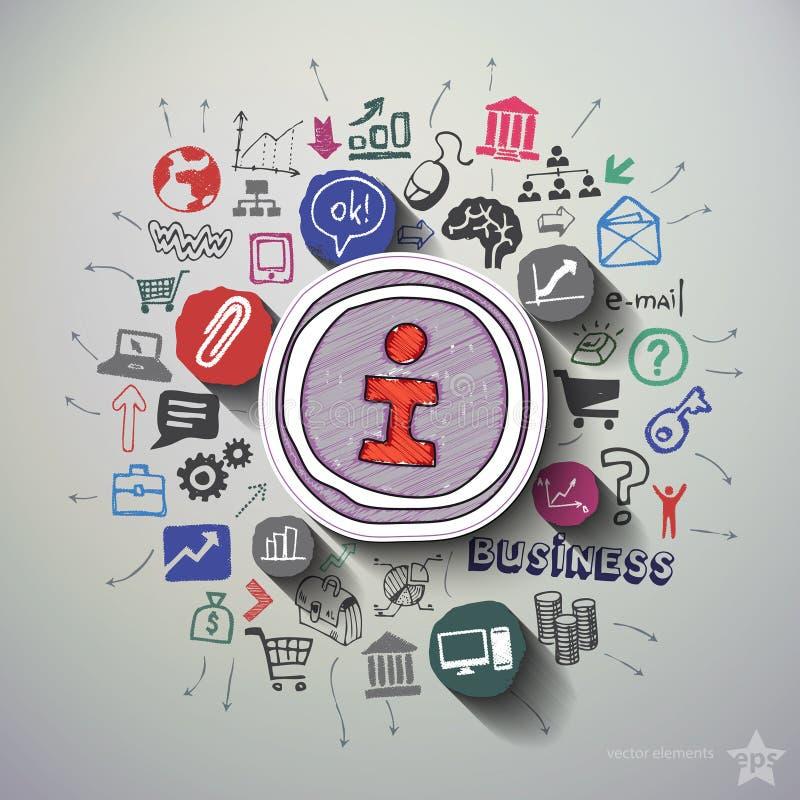Internetmarknadsföringscollage med symbolsbakgrund stock illustrationer