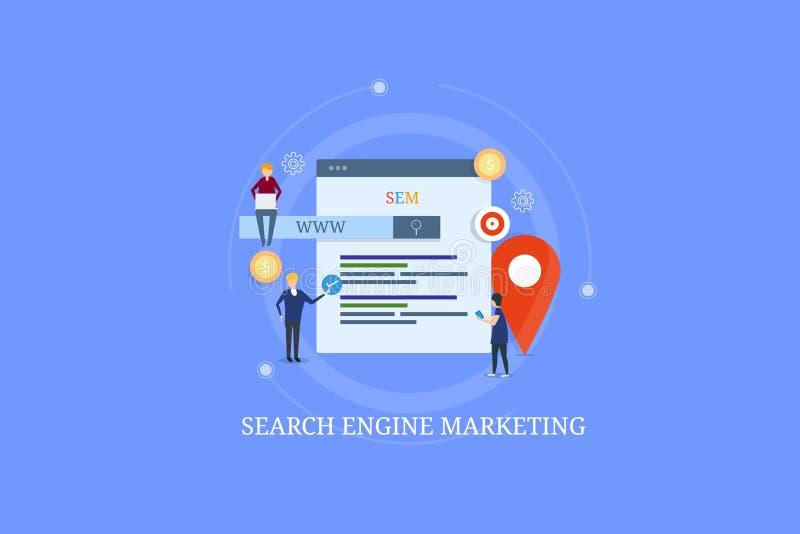 Internetmarknadsföringsexpert som arbetar på aktionen för sökandemotormarknadsföring, ppc som annonserar, rengöringsdukannonsbegr vektor illustrationer