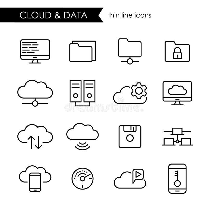 Internetmolnet och den tunna linjen symbol för datalagring ställde in royaltyfri illustrationer