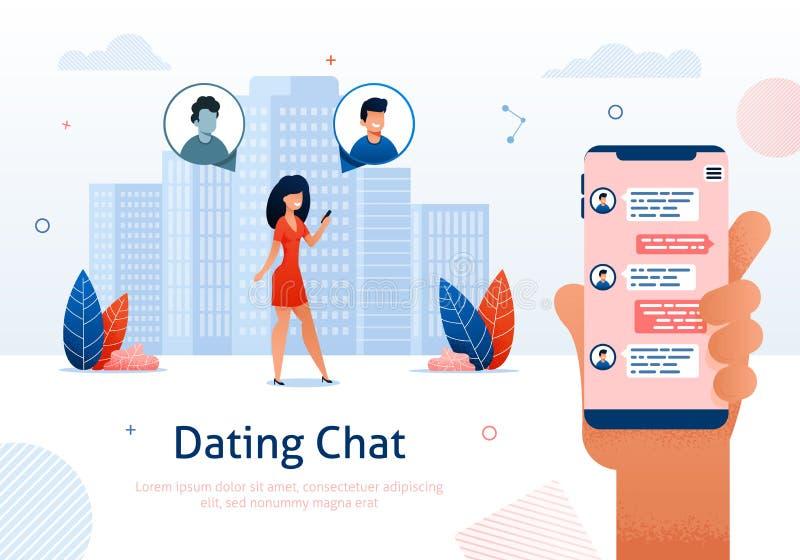 Internetowa datowanie gadka, Online flirt, związki ilustracja wektor