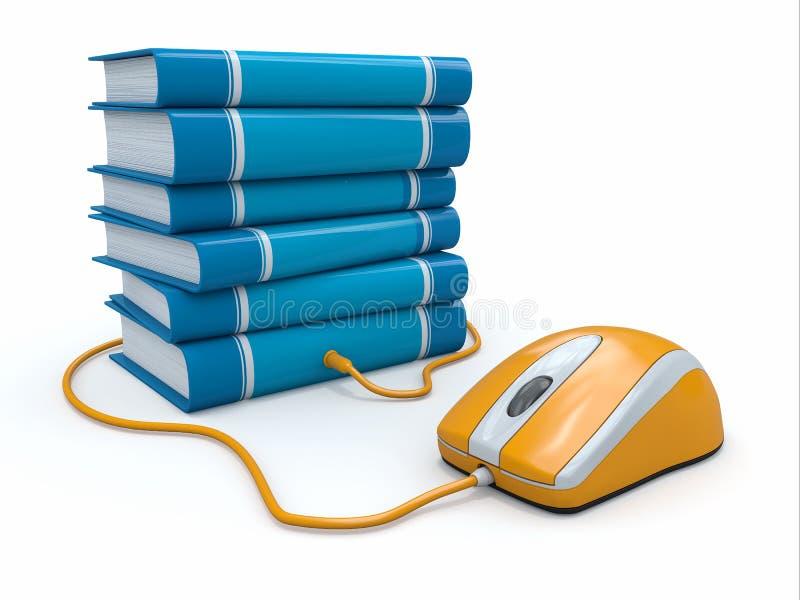 Internetowa edukacja. Książki i komputerowa mysz. ilustracja wektor