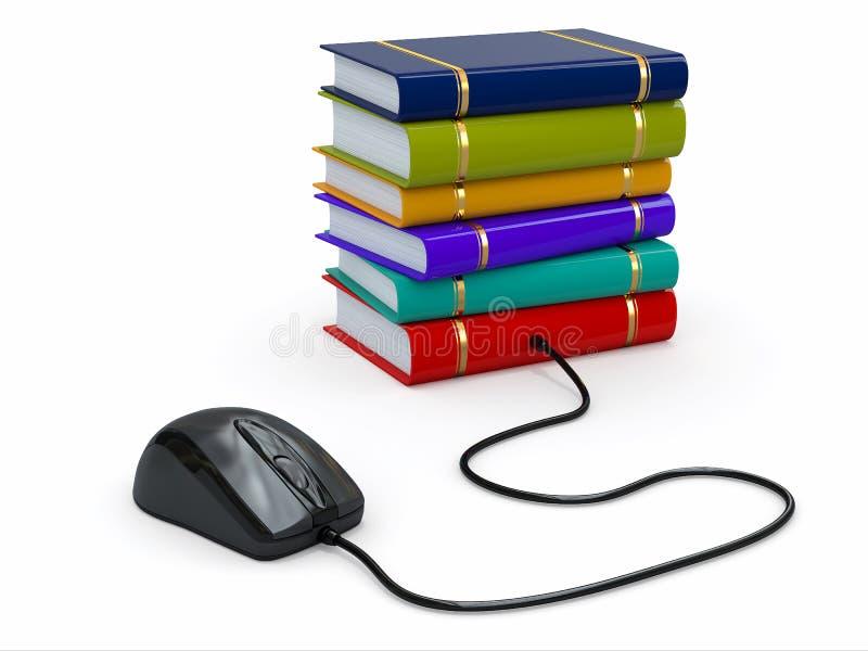 Internetowa edukacja. Książki i komputerowa mysz. royalty ilustracja