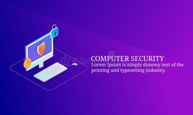Internetowa ochrona, cyber ochrona, nazwa użytkownika dostęp, utajniony dane, prywatność, isometric projekta pojęcie ilustracji