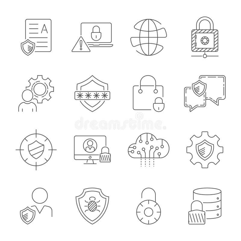 Internetowa ochrona i Digital ochrony ikony ustawiać w cienkim kreskowym stylu Technologia ochrona w cyfrowym świacie ilustracji