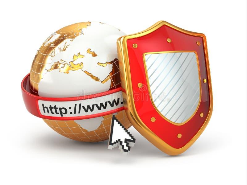 Internetowa ochrona. Ziemia, wyszukiwarka adresu linia i osłona.