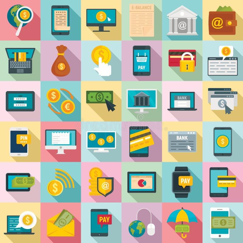 Internetowe bankowość ikony ustawiać, mieszkanie styl ilustracja wektor