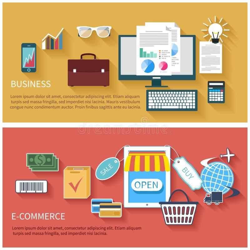 Internetowe biznesu i zapłaty pojęcia ikony ilustracji