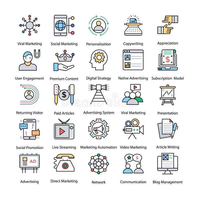 Internetowe i Cyfrowy marketing Barwić Kreskowe ikony ilustracji