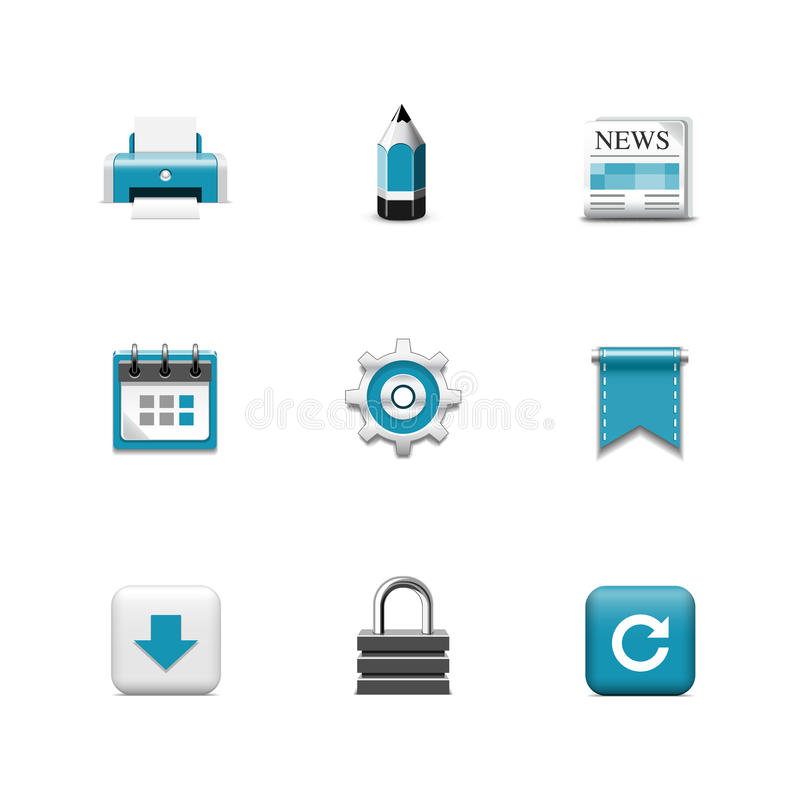Download Internetowe Ikony. Azzuro Serie Ilustracja Wektor - Ilustracja złożonej z kłódka, pióro: 28970515