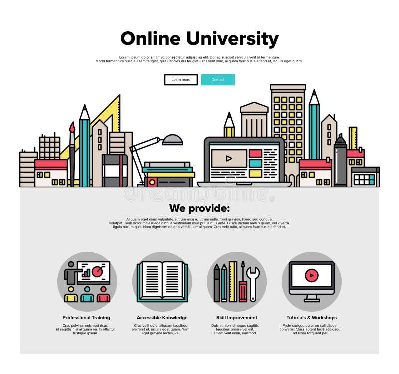 Internetowe kampusu mieszkania linii sieci grafika ilustracja wektor