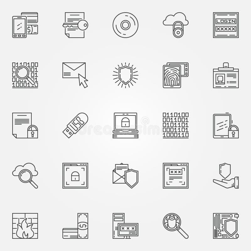 Internetowe ochrony linii ikony royalty ilustracja