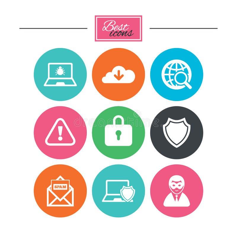 Internetowe prywatność ikony Cyber przestępstwa znaki ilustracji
