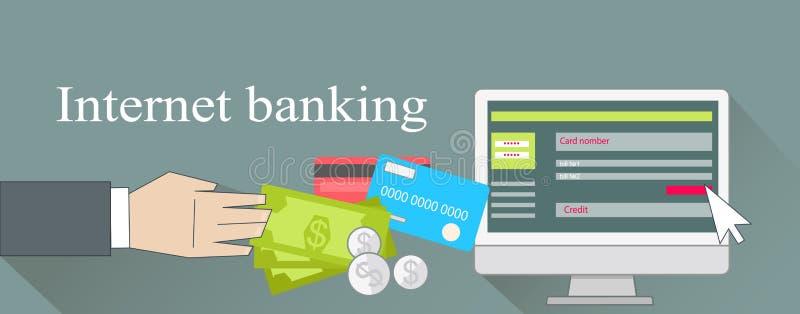Internetowego bankowość pieniądze Kredytowa karta ilustracji