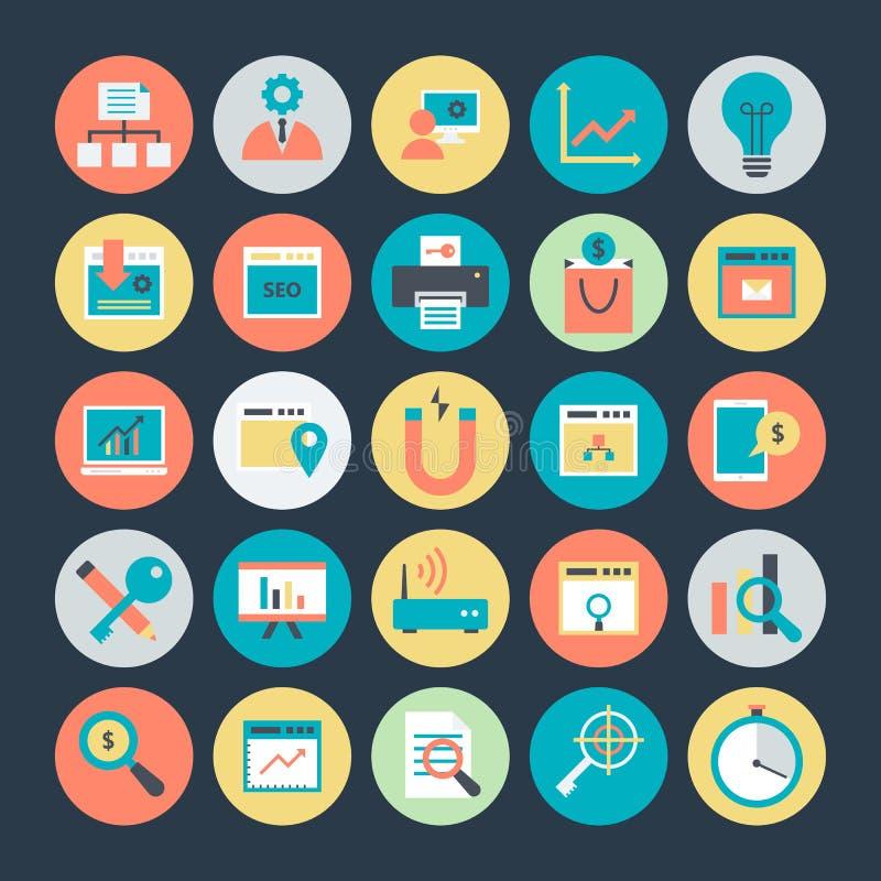 Internetowego marketingu i sieci optymalizacja Wektorowe ikony 3 royalty ilustracja