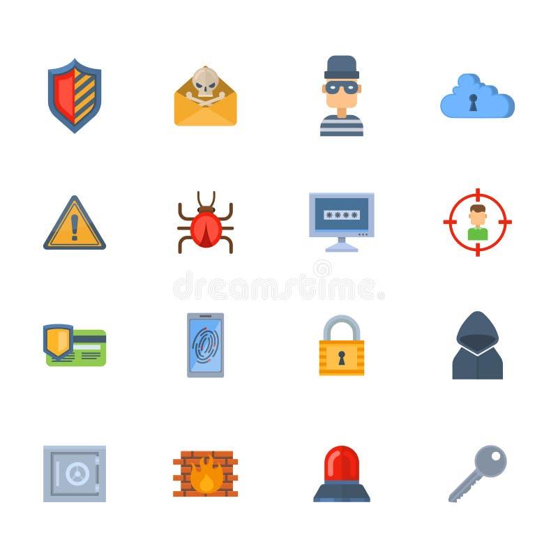 Internetowego ochrony ikony hackera zbawczego wirusowego ataka dane ochrony technologii sieci pojęcia wektorowy projekt ilustracja wektor