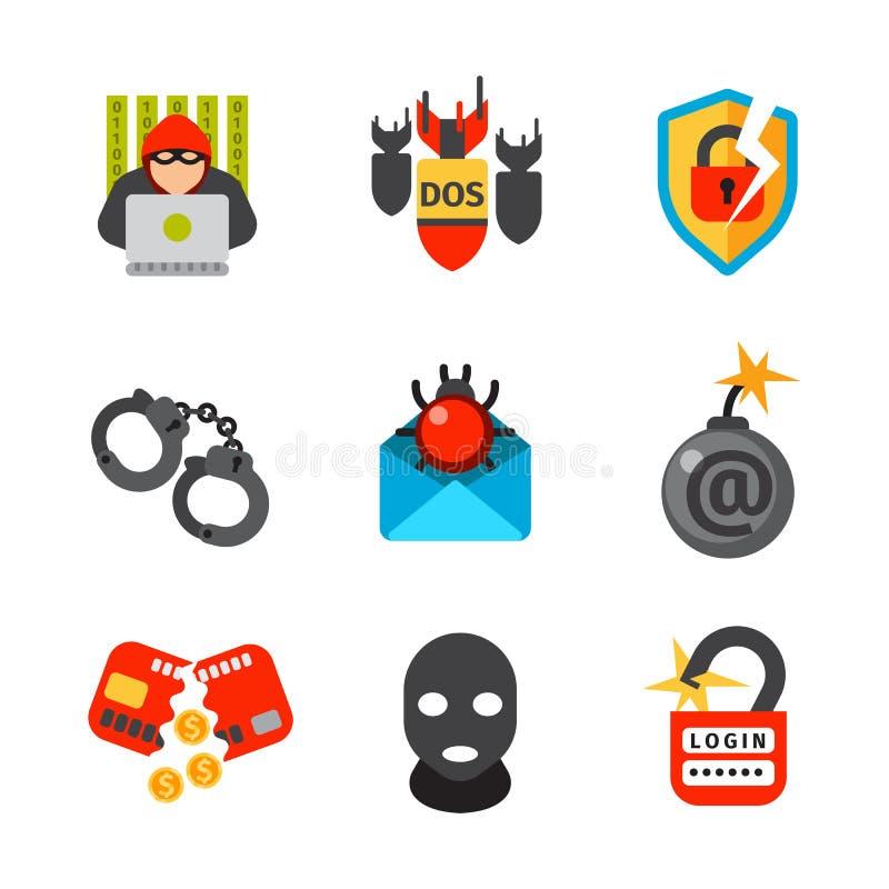 Internetowego ochrony ikony wirusa zbawczego ataka dane ochrony technologii sieci pojęcia wektorowy projekt royalty ilustracja