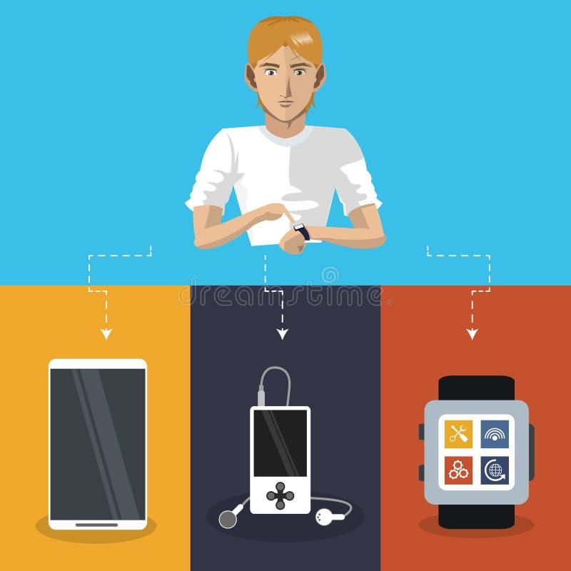 Internetowego rzecz mężczyzna technologii mp3 zegarka noszony telefon komórkowy ilustracji