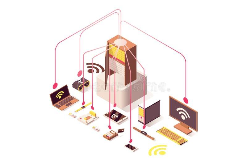 Internetowego serweru wektorowa isometric ilustracja Komputerowego narzędzia wyposażenie, internet rzeczy, obłoczny system, przen ilustracja wektor