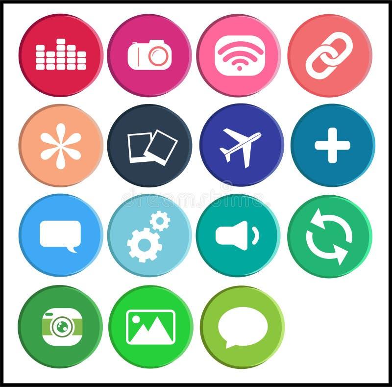Internetowej sieci ikony ustalony guzik, kolorowy wektorowy projekt Menchie, błękit i zieleń, ilustracji