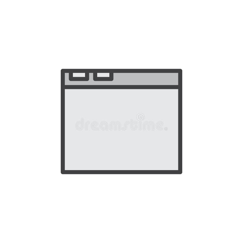 Internetowej wyszukiwarki okno linii ikona, wypełniający konturu wektoru znak, liniowy kolorowy piktogram odizolowywający na biel royalty ilustracja
