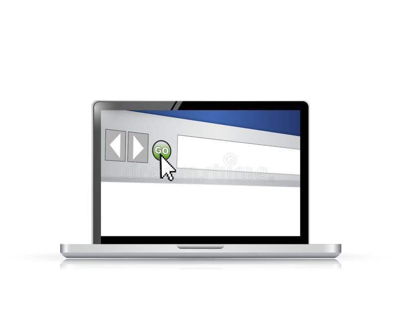 Internetowej wyszukiwarki okno na ekranie komputerowym royalty ilustracja