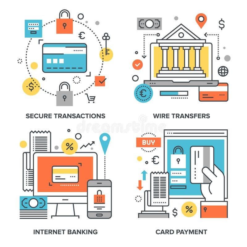 Internetowi bankowość pojęcia ilustracji