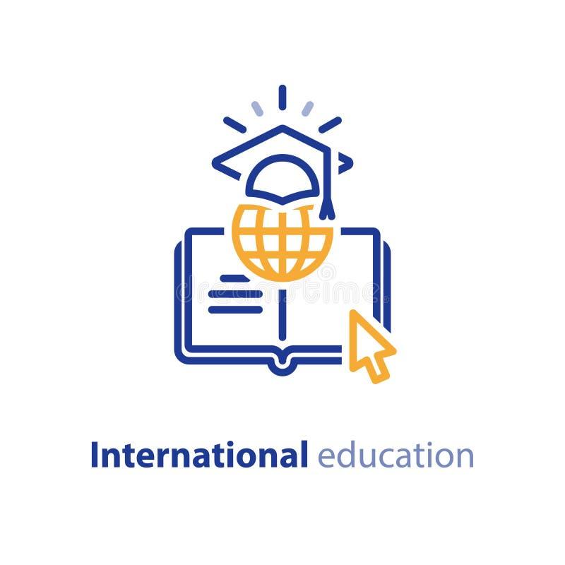 Internetowi edukacyjni zasoby, online uczenie kursy, otwarta biblioteka, międzynarodowy uniwersytet royalty ilustracja