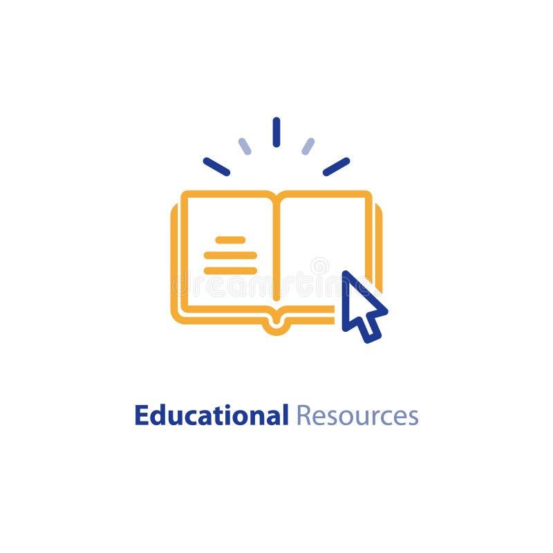 Internetowi edukacyjni zasoby, online uczenie kursy, otwarta biblioteka, słownik kreskowa ikona royalty ilustracja