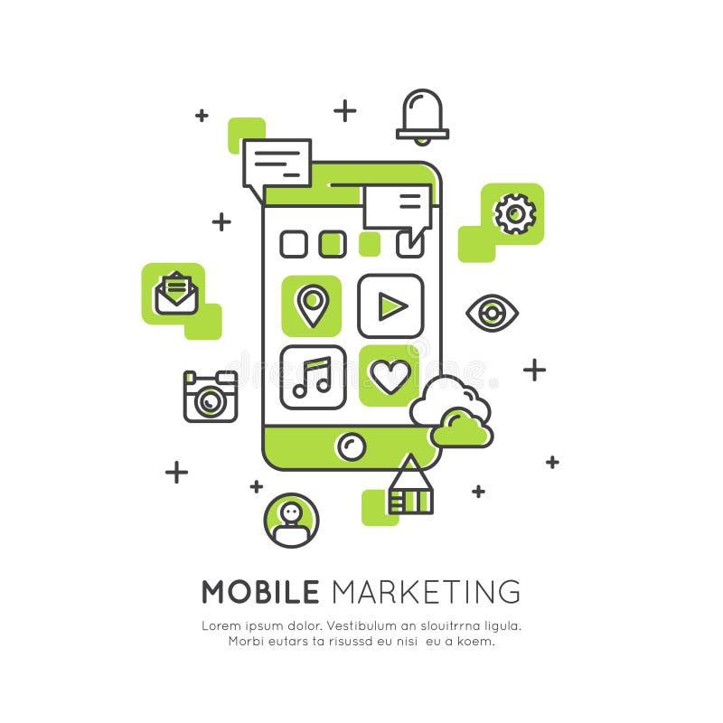 Internetowi Mobilni marketingu i promoci dosłania Proces listy użytkownicy, zakupy, handel elektroniczny royalty ilustracja