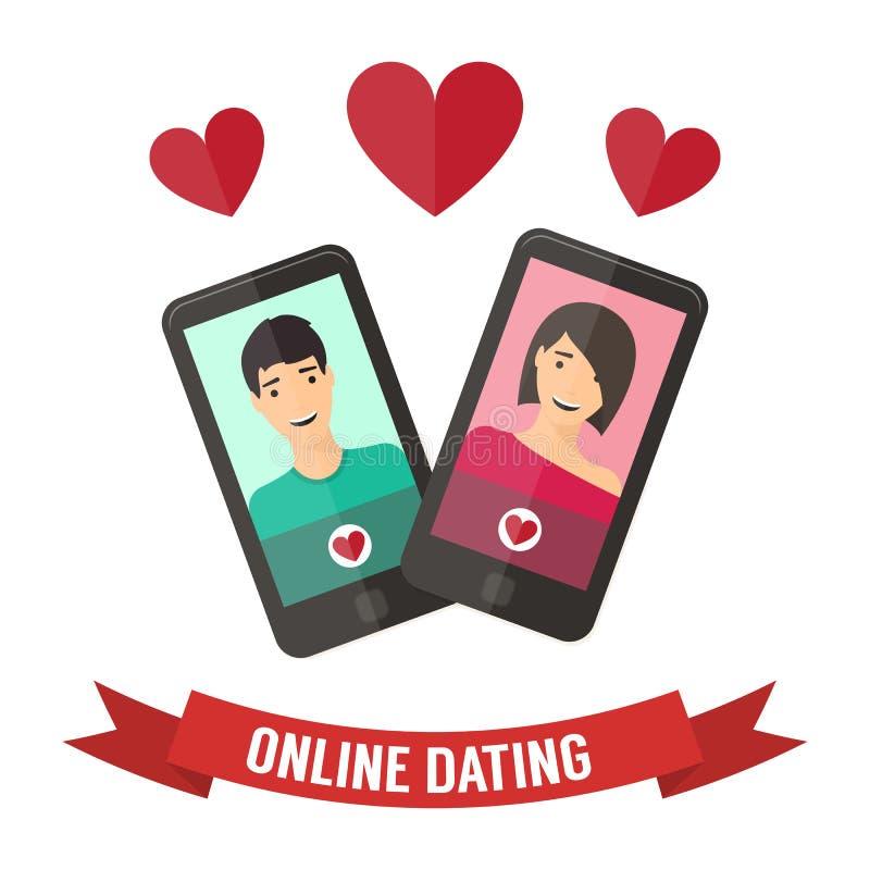 Internetowy datowanie, online flirt i powiązanie, Wisząca ozdoba ilustracja wektor