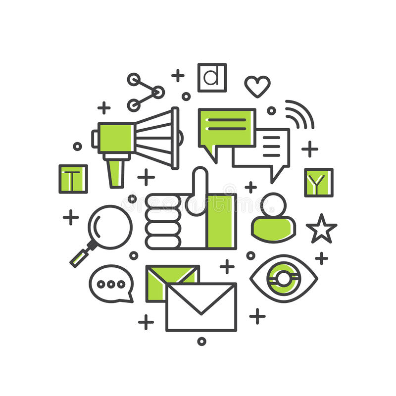 Internetowy email, Mobilni powiadomienia, oferta marketing lub Ogólnospołeczna kampania ilustracja wektor