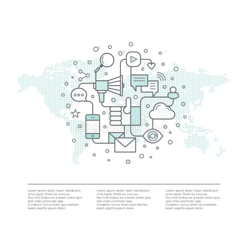 Internetowy email, Mobilni powiadomienia, oferta marketing lub Ogólnospołeczna kampania Promoci Proces pojęcie Na całym świecie z ilustracja wektor