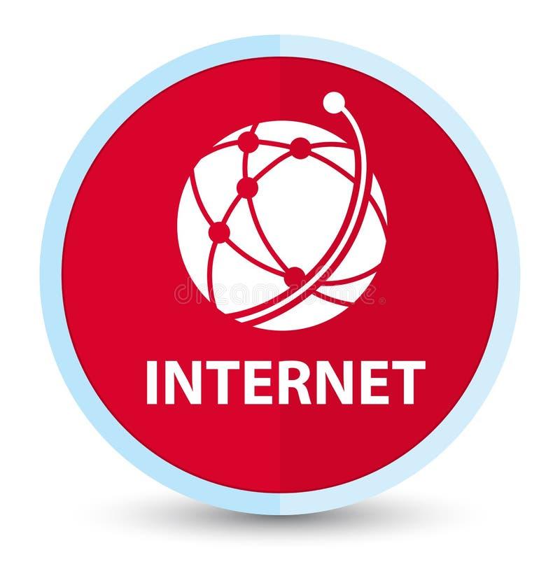 Internetowy (globalnej sieci ikona) płaski pierwszorzędny czerwony round guzik ilustracja wektor