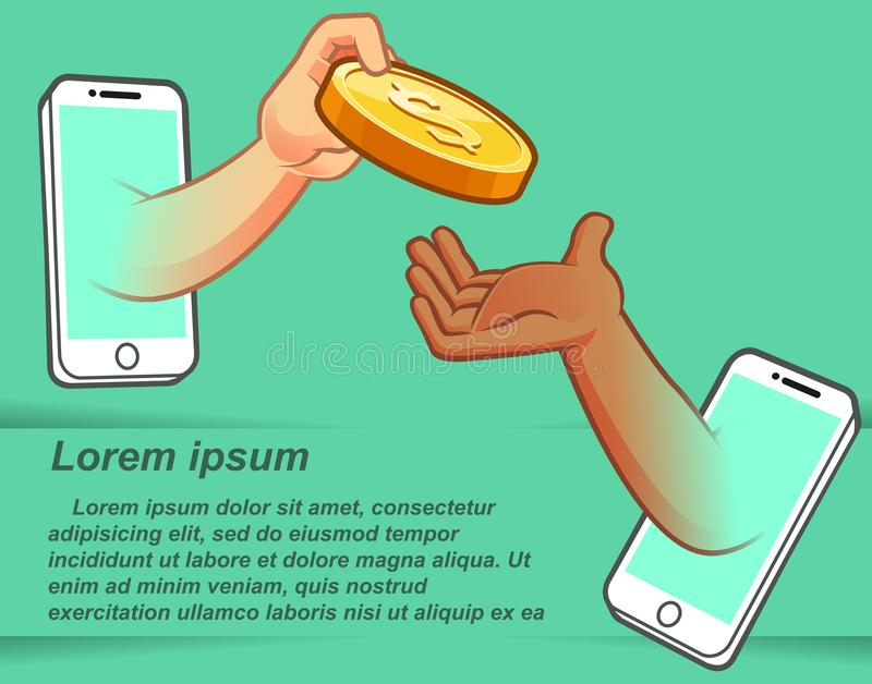 Internetowy handel z telefonami komórkowymi royalty ilustracja