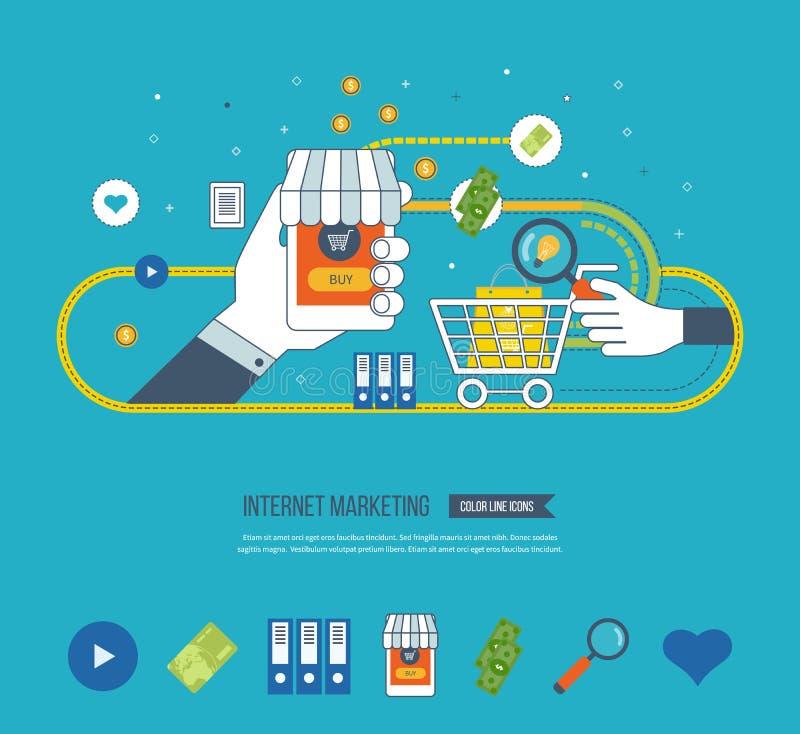 Internetowy i mobilny marketingowy pojęcie dof ręce karty ogniska płytki zakupy online bardzo Inwestorski biznes ilustracji