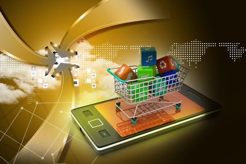 Internetowy i Online zakupy pojęcie ilustracja wektor