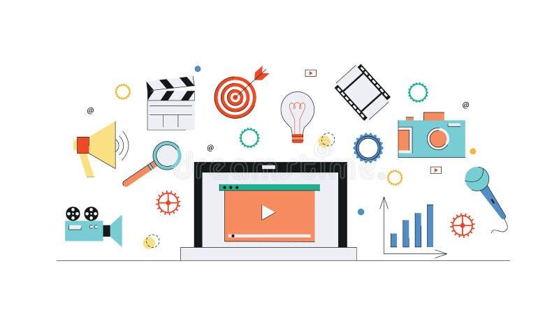 Internetowy i wideo marketingowy abstrakcjonistyczny medialny pojęcia tło ilustracji