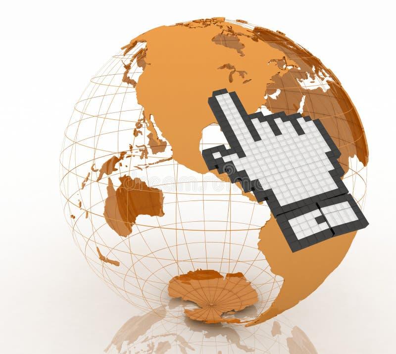 Internetowy interneta pojęcie. Ręka kursor i ziemi kula ziemska royalty ilustracja