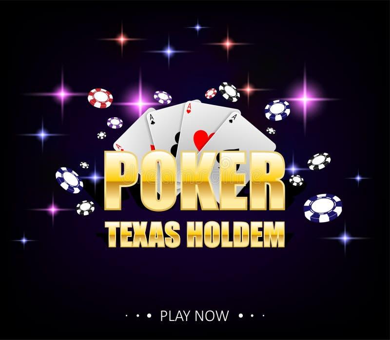 Internetowy kasynowy sztandar z rozjarzonymi lampami dla onlinego kasyna, grzebak, karciane gry, Texas holdem Grzebaka plakat z u ilustracji